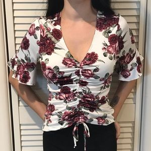Trendy Rose V-Neck Blouse
